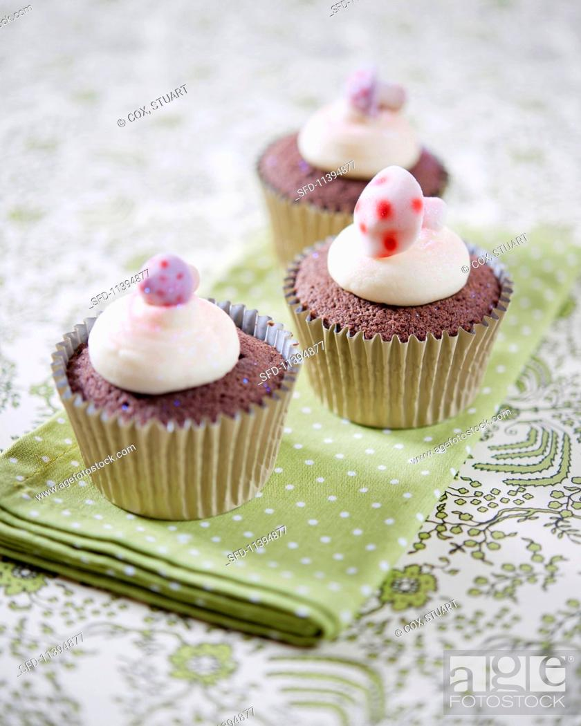 Chocolate Cupcakes Decorated With Mushroom Sweets Stock Photo