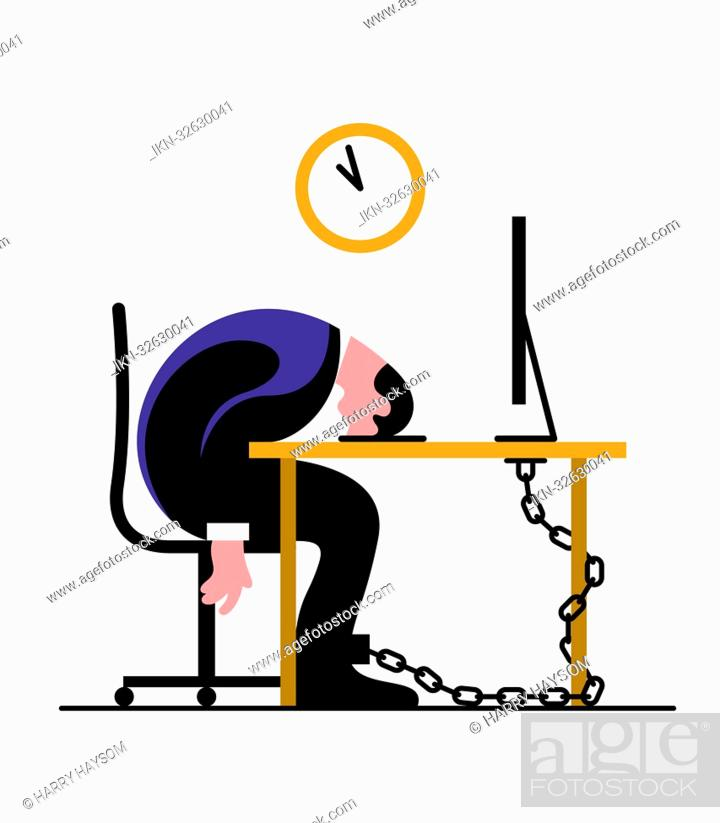 Imagen: Exhausted businessman chained to desk sleeping.