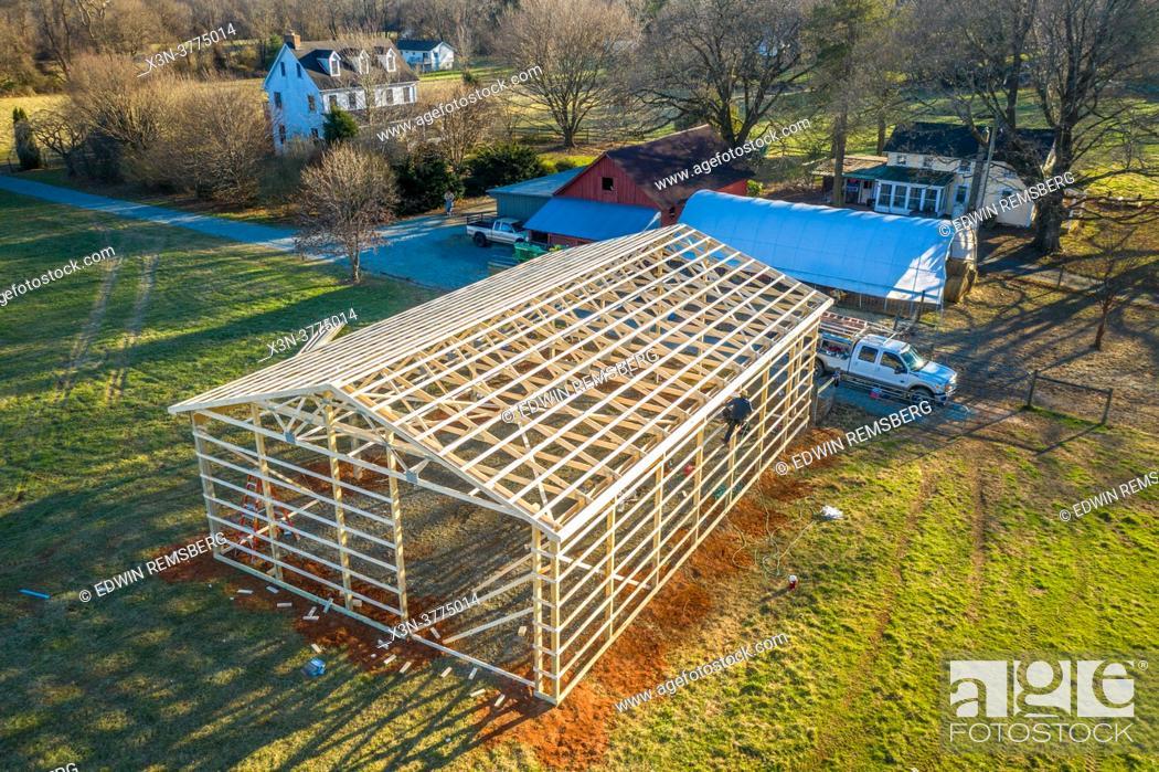 Stock Photo: Pole Barn construction on farm in Harford County Maryland.
