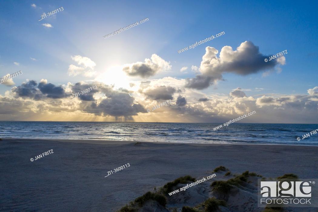 Stock Photo: beautiful clouds at sea near Zandmotor at Monster, Holland.