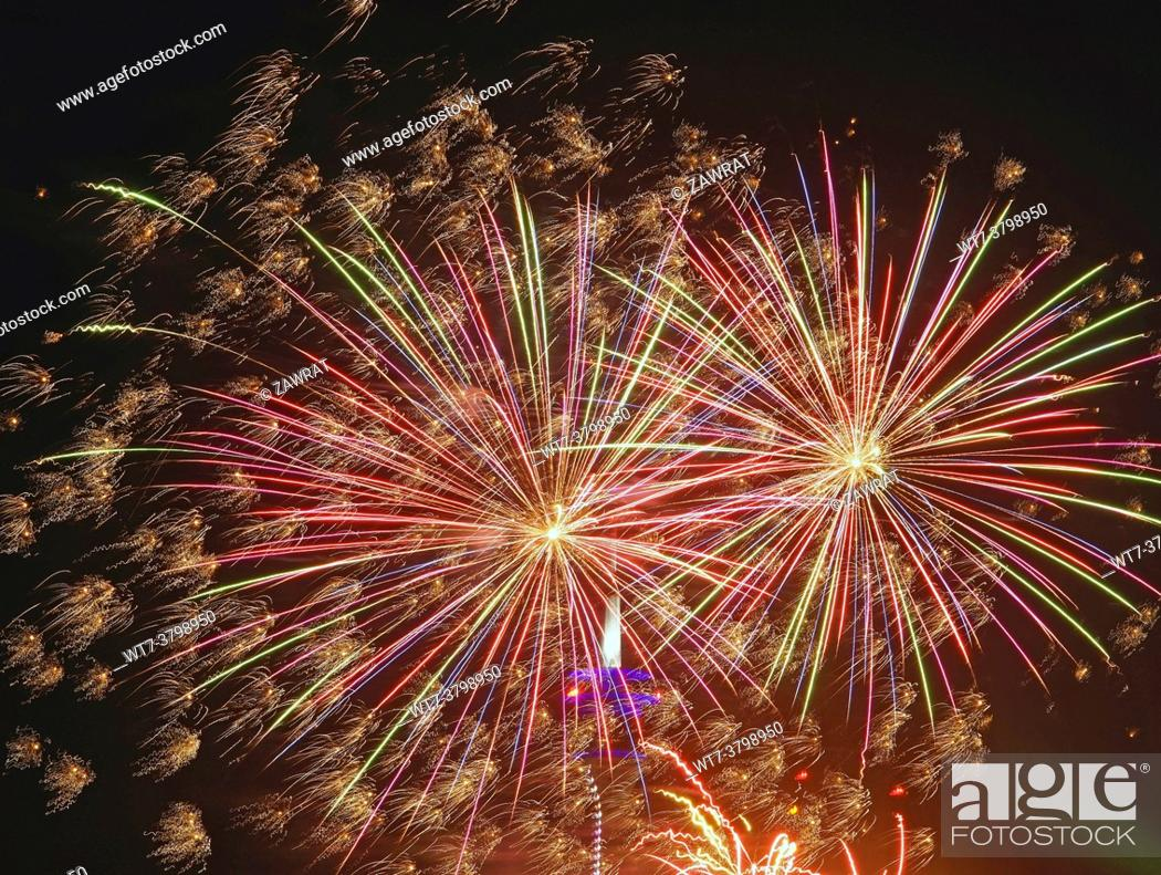 Stock Photo: Firework, Rhine meadows, Funfair, sommer time, amusement, TV tower.