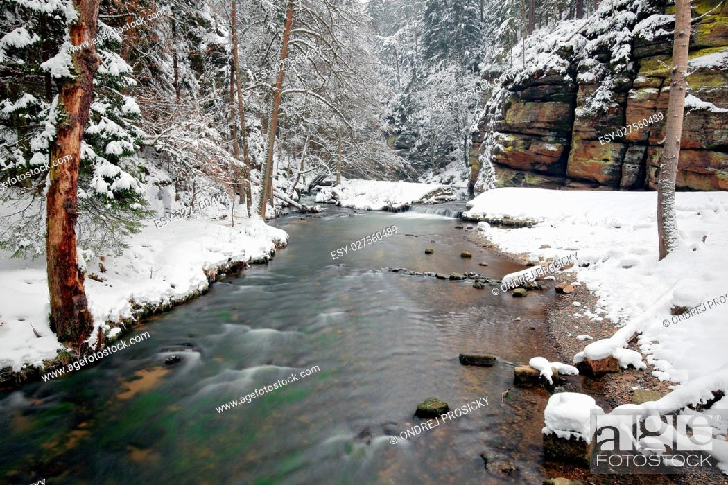 Stock Photo: Winter landscape with white river.