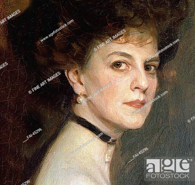 Stock Photo: Élisabeth, Countess Greffulhe (1860-1952), née de Riquet de Caraman-Chimay (Detail) by László, Philip Alexius de (1869-1937)/Oil on canvas/Academic.