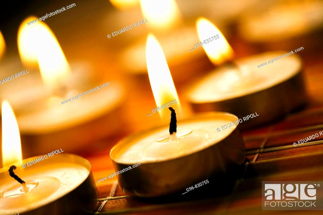 Stock Photo: tealight candles.