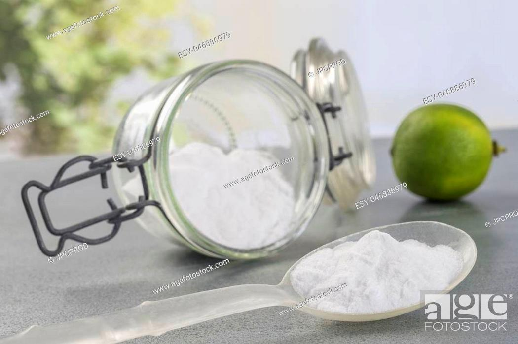 Stock Photo: Natural cleaning tools lemon and sodium bicarbonate for house keeping.