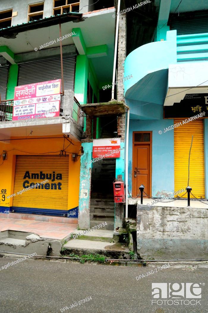Stock Photo: Post Box, Narrow street, Banjar town, Tirthan Valley, Kullu, Himachal Pradesh, India, Asia.