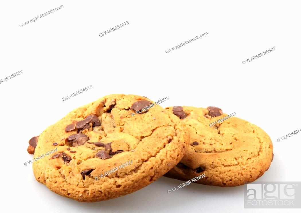 Photo de stock: Chocolate chip cookie isolated on white background.