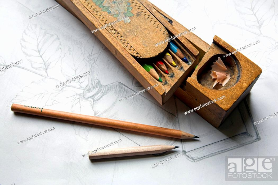 Stock Photo: Wales, Monmouthshire, Monmouth. Handmade wooden pencil case and pencils.