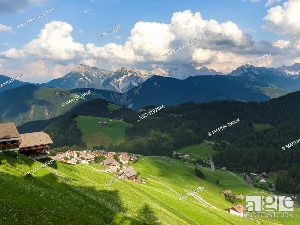 Stock Photo: Village Antermoia in the Dolomites of South Tyrol, Alto Adige, view towards Val Badia. Europe, Central Europe, Italy.