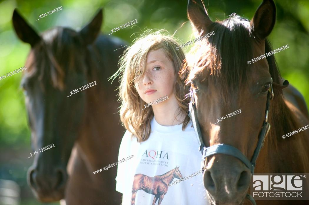 Stock Photo: Girl and horses.