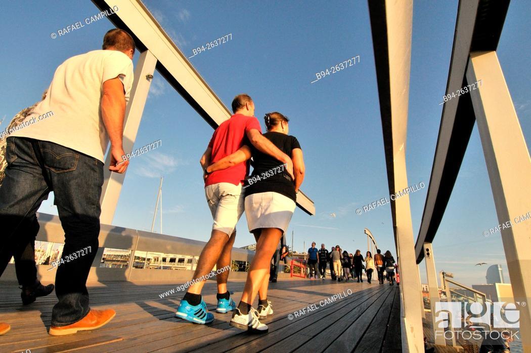 Stock Photo: Rambla de Mar, pedestrian walkway, connects La Rambla to Port Vell, Barcelona, Catalonia, Spain.
