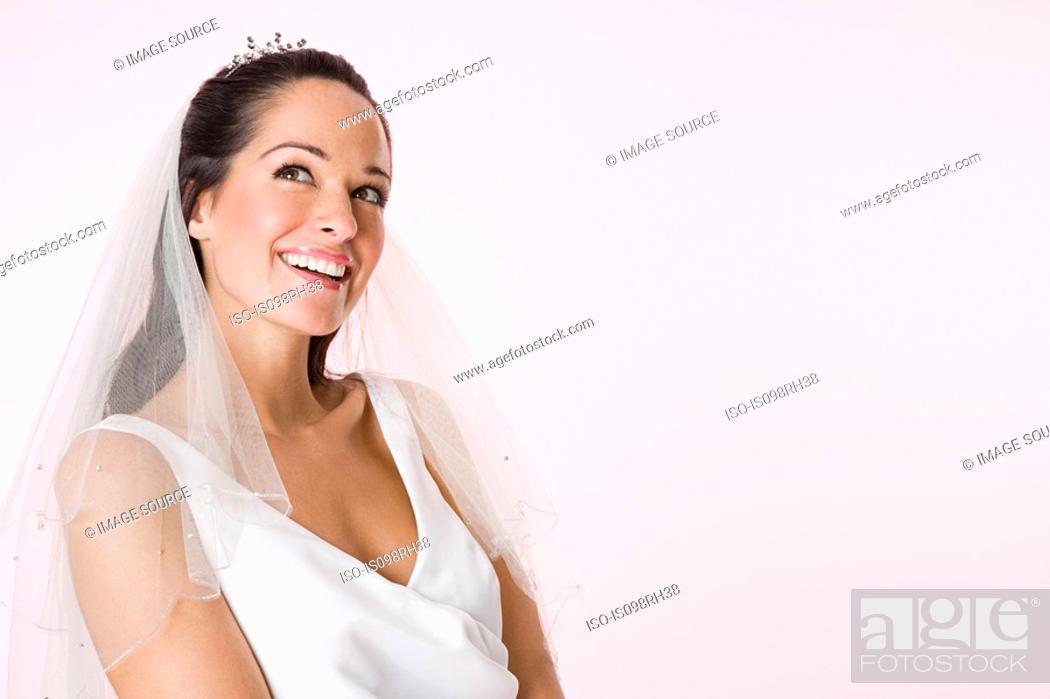 Stock Photo: A smiling bride.