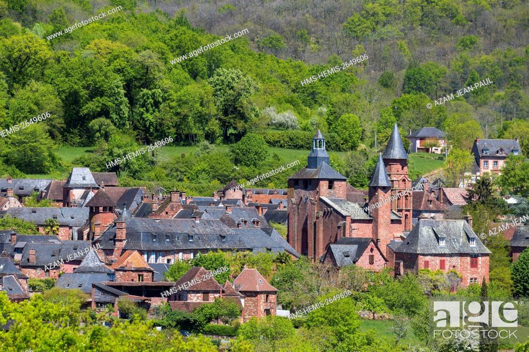 Stock Photo: France, Correze, Collonges la Rouge, labelled Les Plus Beaux Villages de France (The Most Beautiful Villages of France), village built in red sandstone.