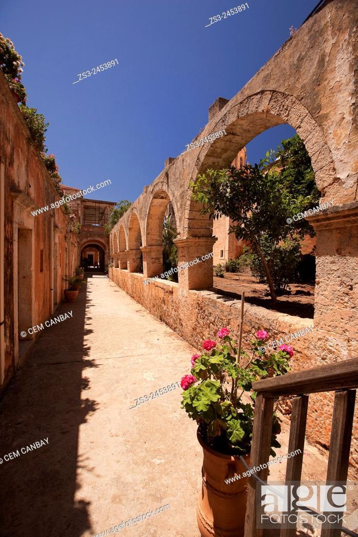 Stock Photo: Passageway in the the Monastery of Agia Triada, Akrotiri Peninsula, Crete, Greek Islands, Greece, Europe.