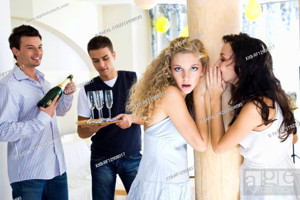 Stock Photo: girls gossip at party.