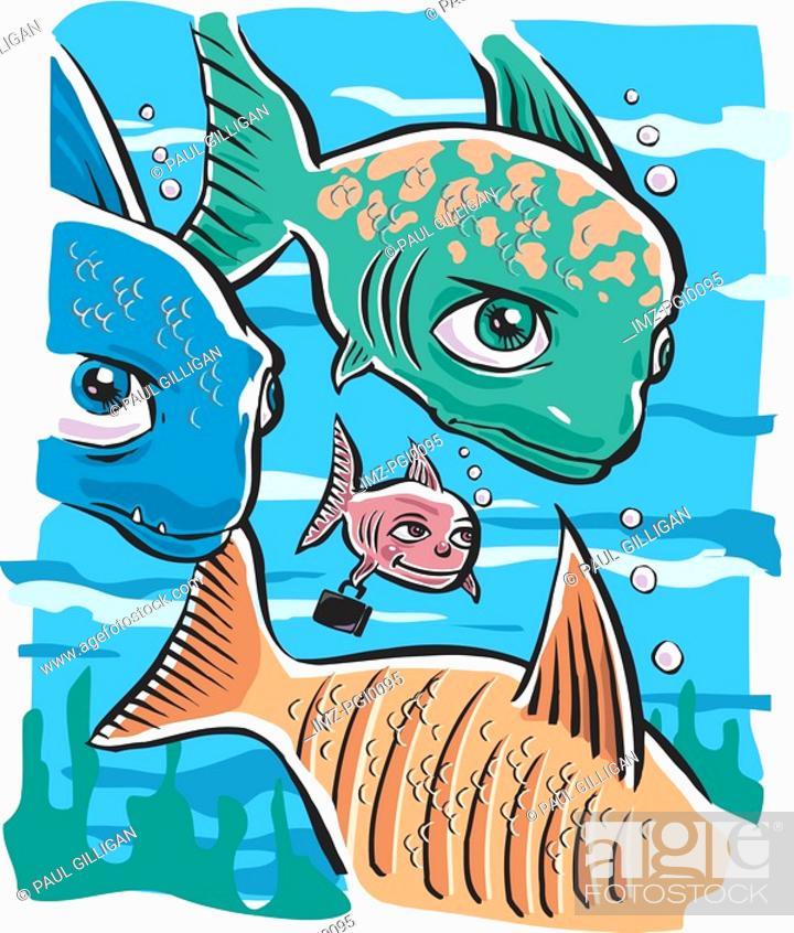 Stock Photo: Big fish training the little fish.