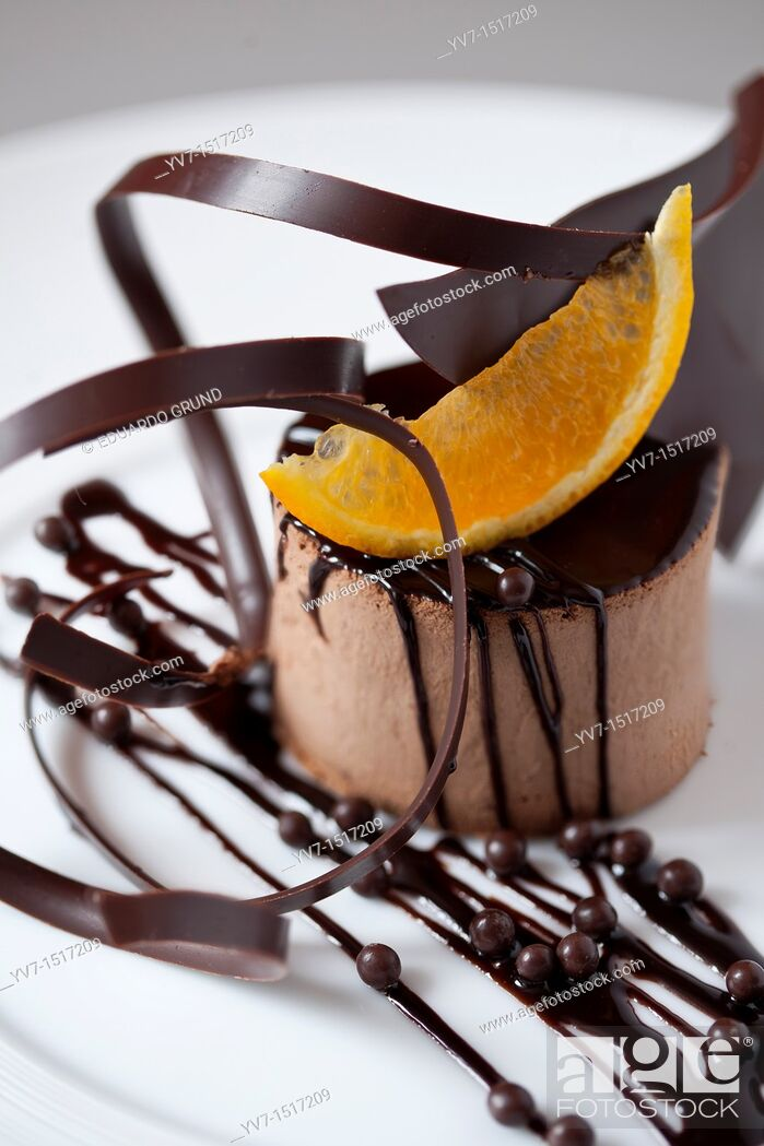 Stock Photo: Dessert of chocolate mousse and orange.