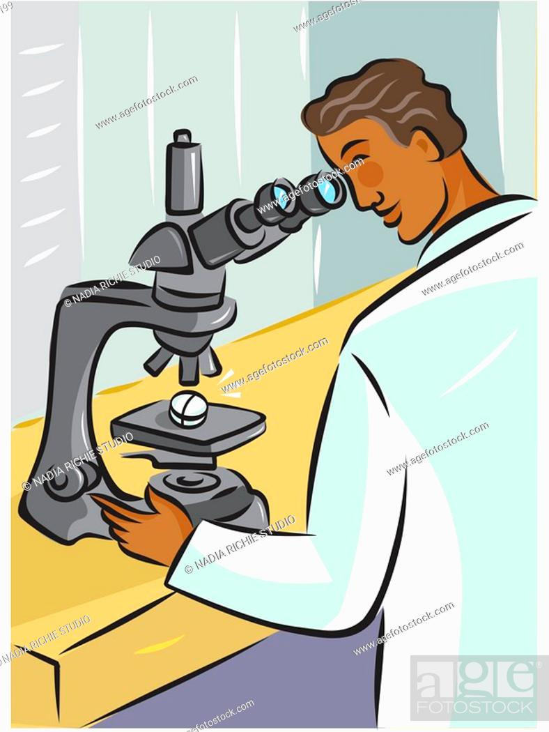 Stock Photo: Rear view of a lab technician using a microscope to look at a pill.