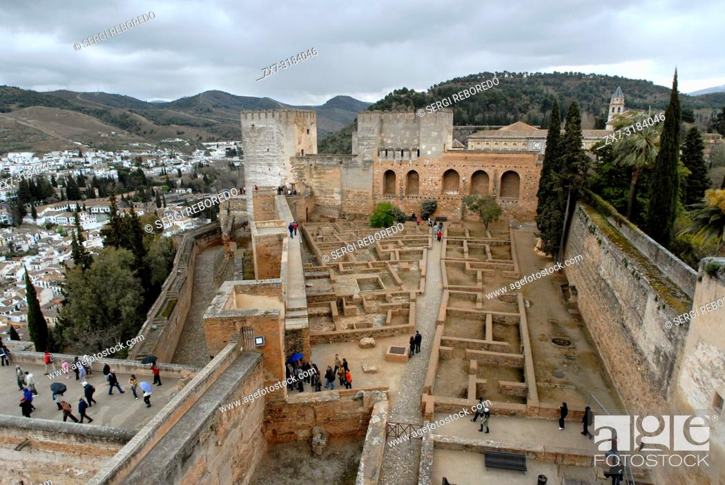 Stock Photo: Elevated view of Elevated view of Alcazaba, Alhambra, Granada, Spain.