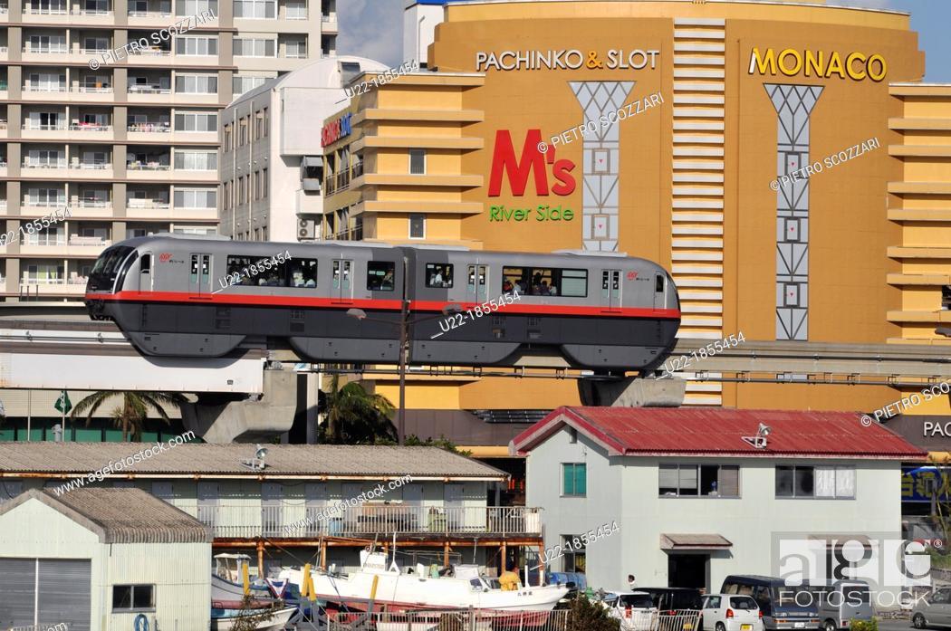 Stock Photo: Naha, Okinawa, Japan, the Urban Monorail-Yui Rail by Lake Manko.