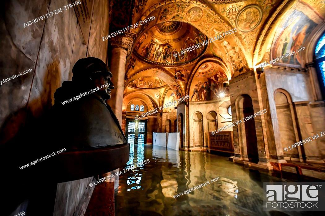Stock Photo: Foto LaPresse/Claudio Furlan.17 Novembre 2019 Veneziacronaca.L'interno della Basilica di San Marco dopo le maree record degli ultimi giorni.