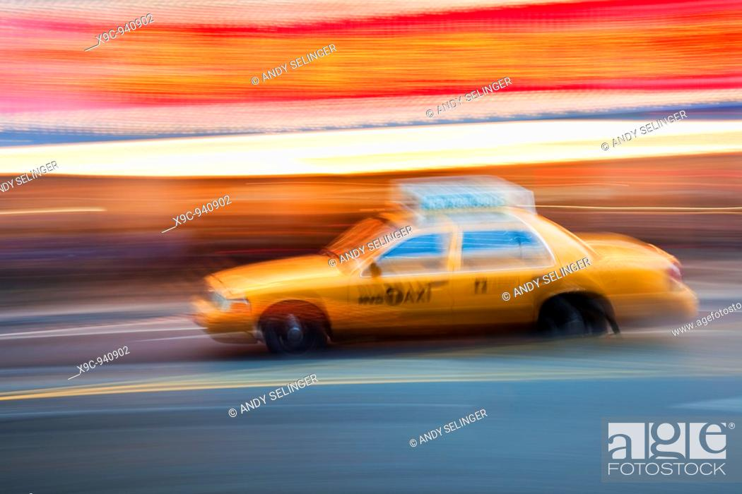 Stock Photo: Speeding Taxi in New York.