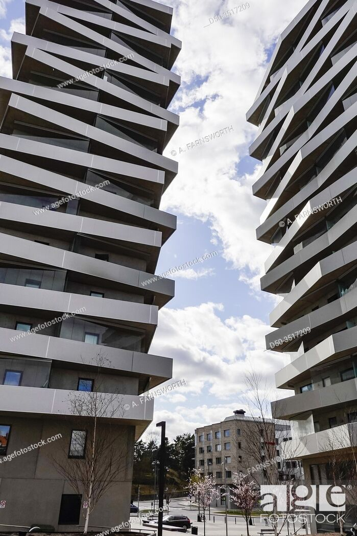 Stock Photo: Stockholm, Sweden The facade of the Tuletornen, or Tule Towers, in the Sundbyberg suburb. Built 2014 by Vera Architects.