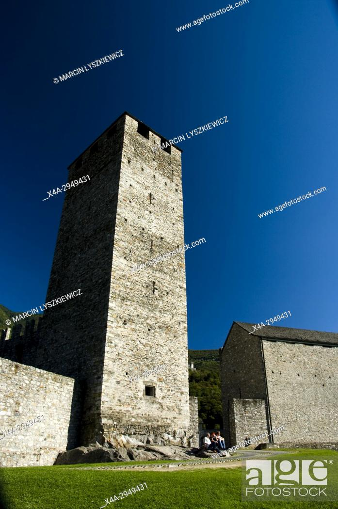 Stock Photo: White Tower of Castelgrande in Bellinzona.