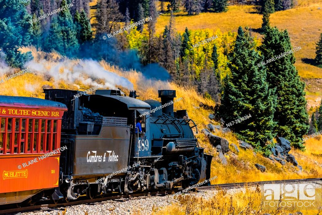 Stock Photo: The Cumbres & Toltec Scenic Railroad train pulled by a steam locomotive on the 64 mile run between Chama, New Mexico and Antonito, Colorado.