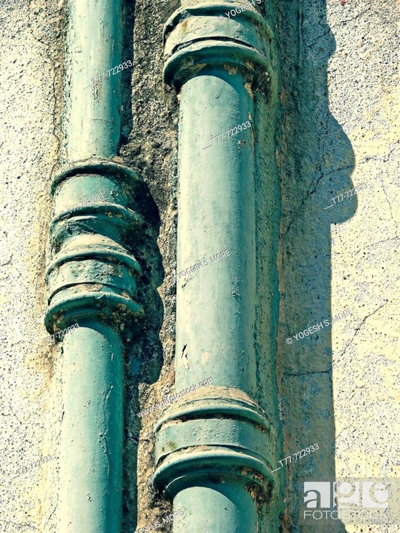 Stock Photo: Close up of a drain pipe  Pune, Maharashtra, India.