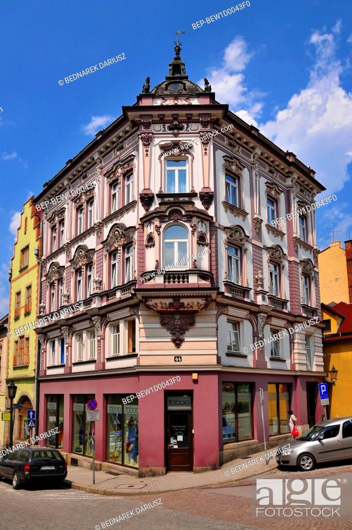 Stock Photo: Historical townhouse at the corner of Gleboka and Mennicza Streets, Cieszyn, Silesian Voivodeship, Poland.