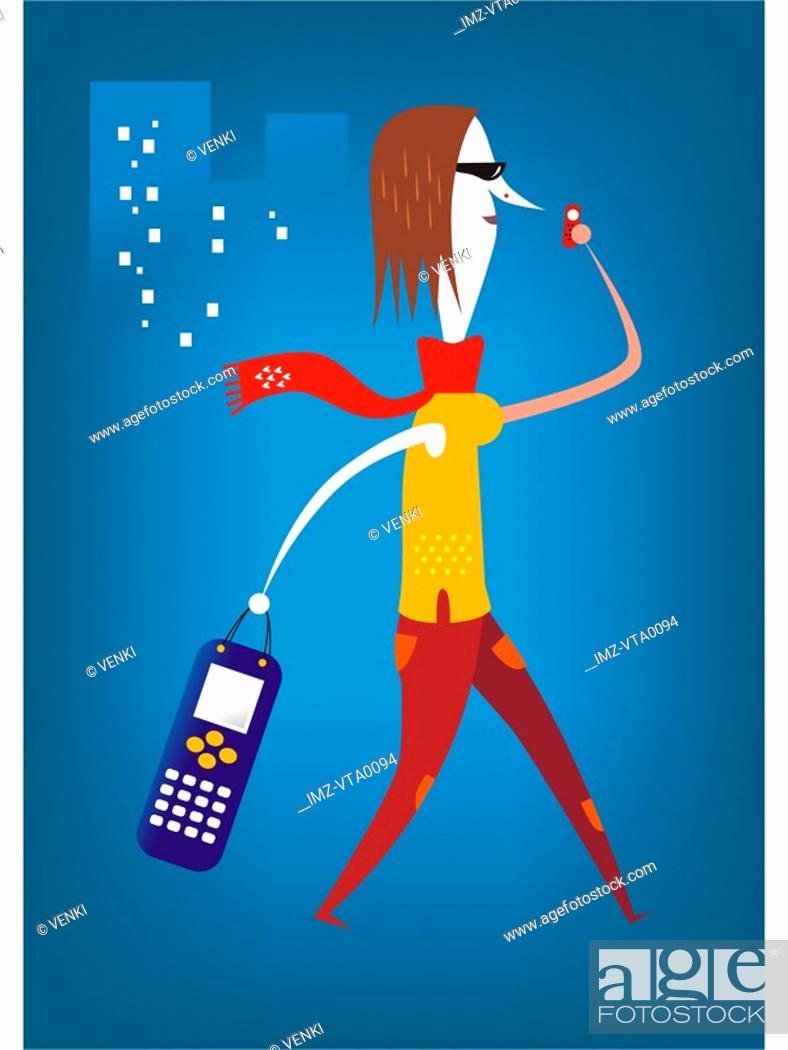 Stock Photo: A woman carrying a handbag shaped like a cell phone and speaking on a cell phone in the city.