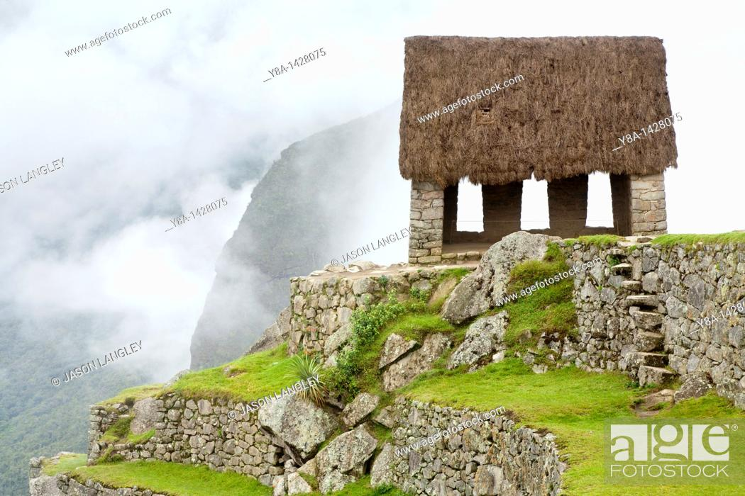 Watchman S Hut Or Guard House On A Foggy Morning At Machu Picchu