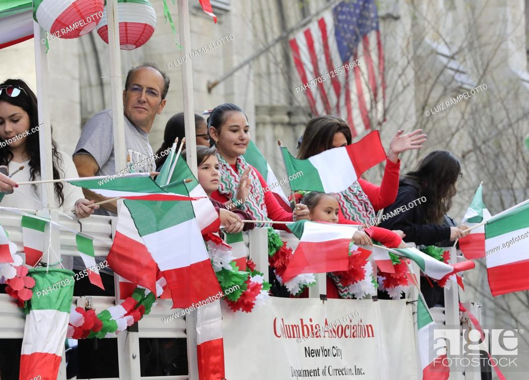Stock Photo: Fifth Avenue, New York, USA, October 15, 2019 - Thousands Peoples Participated the 2019 Columbus Day Parade in New York City.