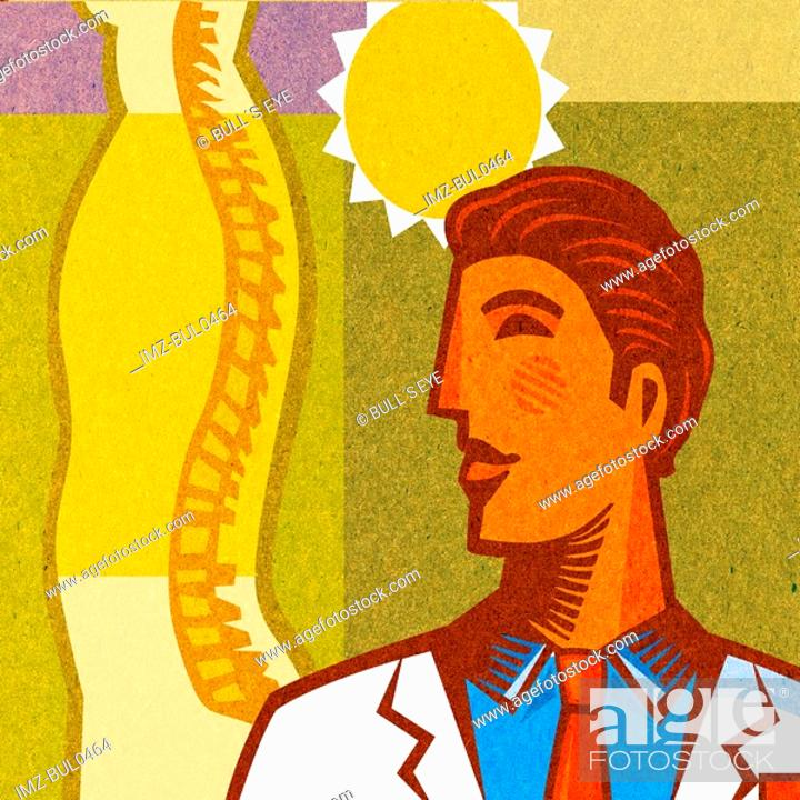 Stock Photo: A doctor standing with a sun behind and a diagram of a spine.