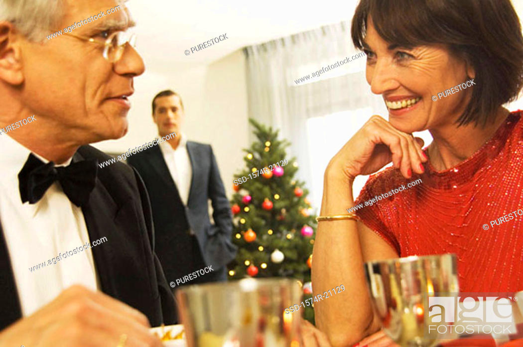 Stock Photo: Close-up of a mature couple looking at each other.