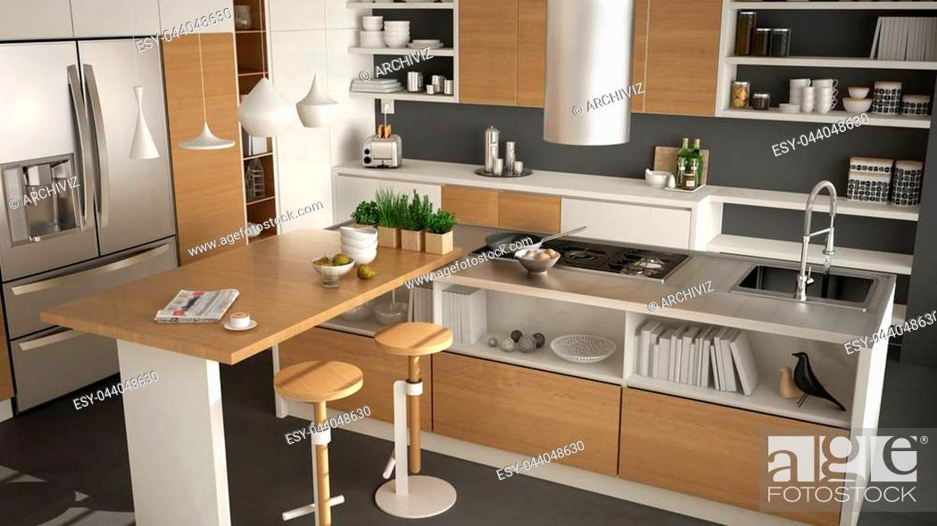 Stock Photo: Modern wooden kitchen with wooden details, close up, island with stools, white and gray minimalistic interior design.