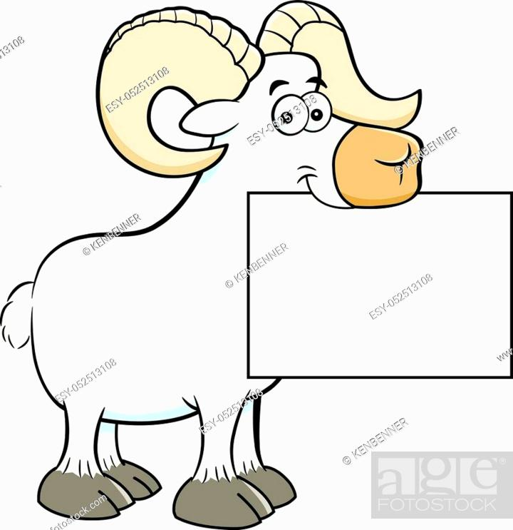 Stock Vector: Cartoon illustration of a ram holding a sign.