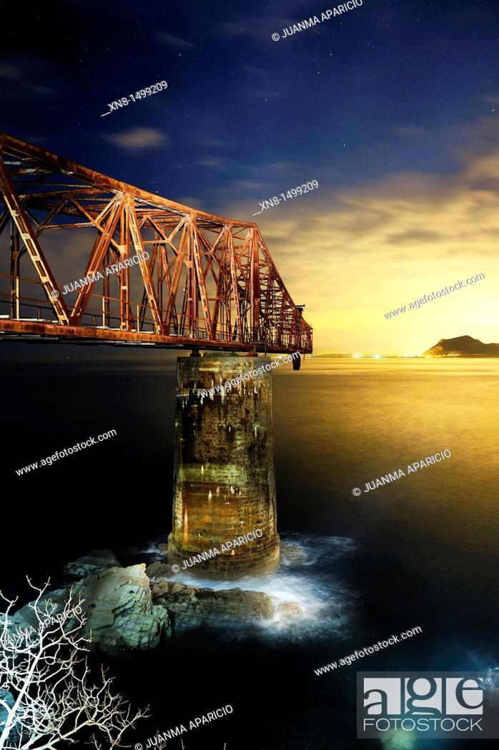 Stock Photo: Old mineral loading of Dicido in Cantabria photographed at night with a spectacular light.