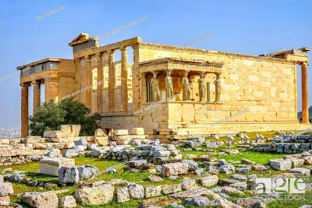 Stock Photo: Porch Caryatids Ruins Temple of Erechtheion Acropolis Athens Greece. Greek maidens columns Temple of Erechtheion for a former Athenian king.