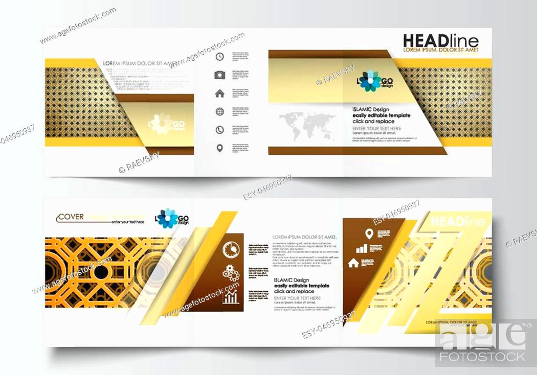Stock Vector: Set of business templates for tri-fold brochures. Square design. Leaflet cover, abstract flat layout, easy editable blank.