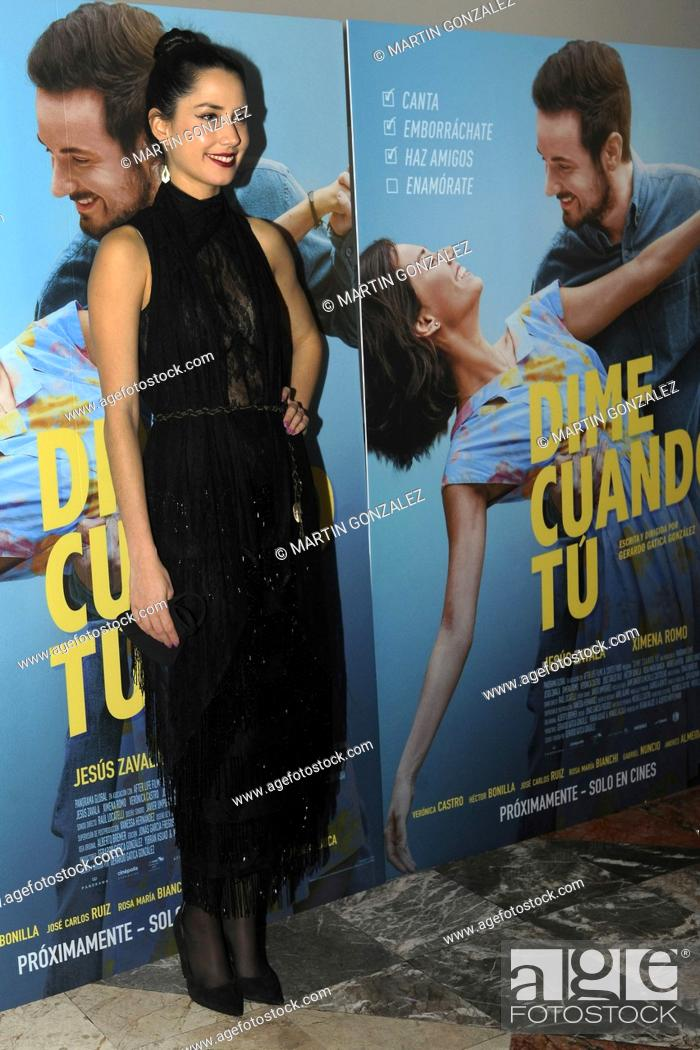 Stock Photo: MEXICO CITY, MEXICO ñ DECEMBER 14: Ximena Romo poses for photos during the red carpet of film premiere Dime Cuando Tu at Cinepolis Diana on December 14 2020 in.