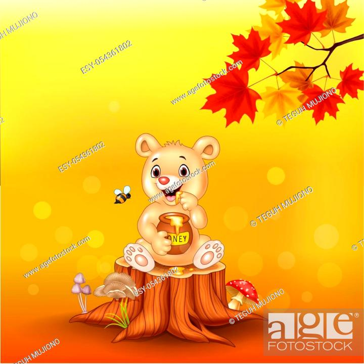 Cartoon Baby Bear Holding Honey Pot On Tree Stump Stock Vector Vector And Low Budget Royalty Free Image Pic Esy 054361802 Agefotostock Polish your personal project or design with these cartoon tree transparent png images, make it even more personalized and more attractive. 2