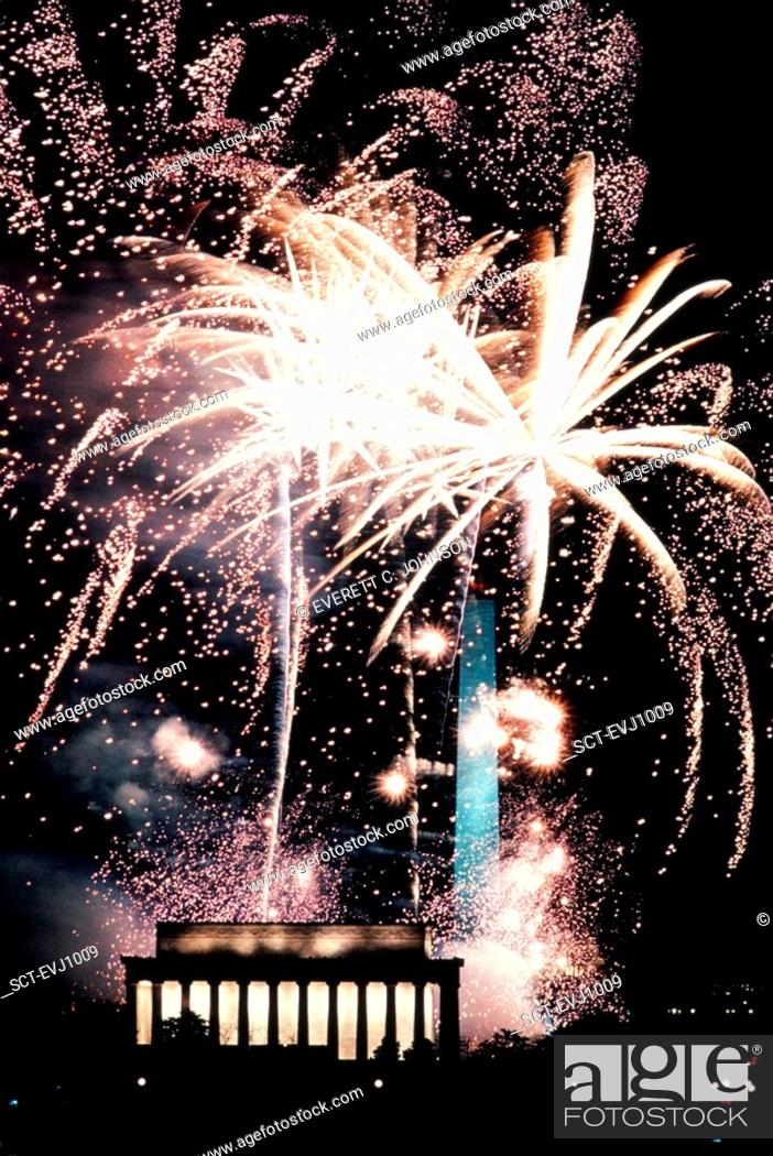 Stock Photo: Brilliant fireworks bursting over the Lincoln Memorial and Washington Monument, George H W  Bush inauguration celebration, 1989.