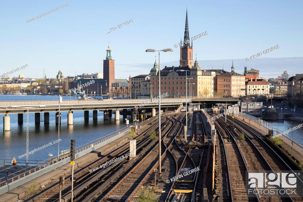 Stock Photo: Cityscape and Railway, Stockholm; Sweden.