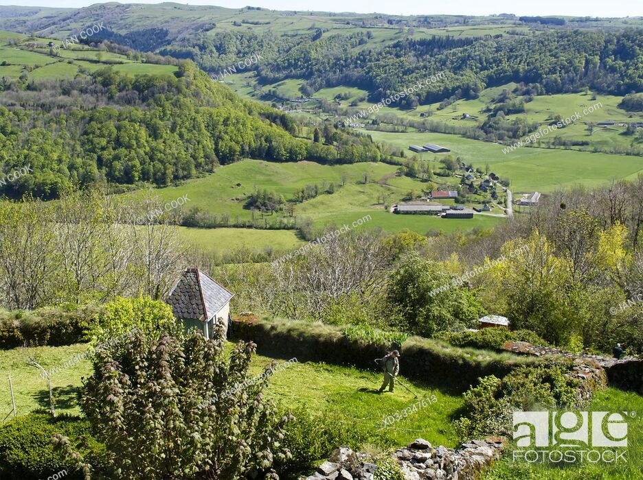 Stock Photo: view of L Aspre valley from Salers, Cantal Department, Auvergne-Rhône-Alpes, France.