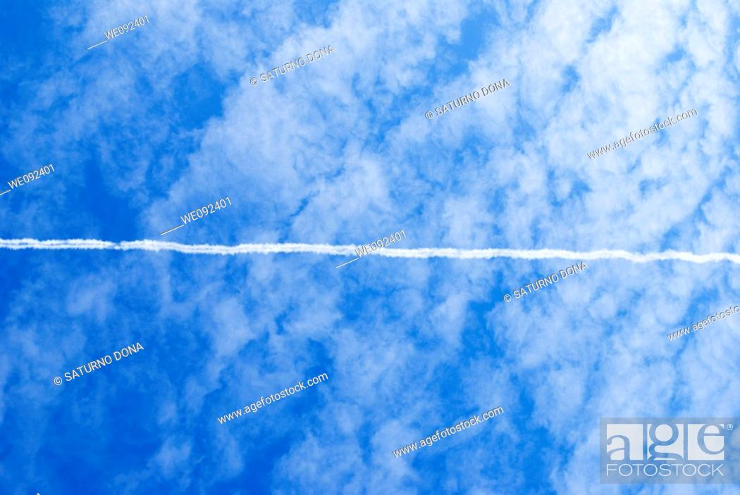Stock Photo: jet stream on blue sky.