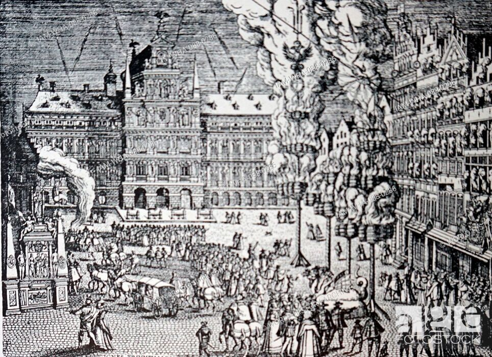 Stock Photo: Engraving depicting fireworks in the main square of Antwerp, Belgium. Dated 16th Century.