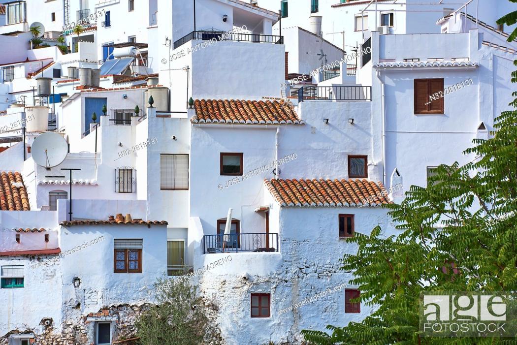 Stock Photo: Competa. Axarquia, Traditional white town, Malaga province, Andalucia, Spain.