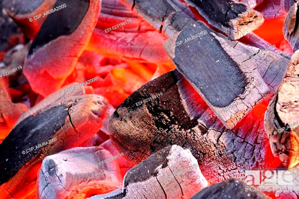 Stock Photo: Glowing Hot Charcoal Background Texture.